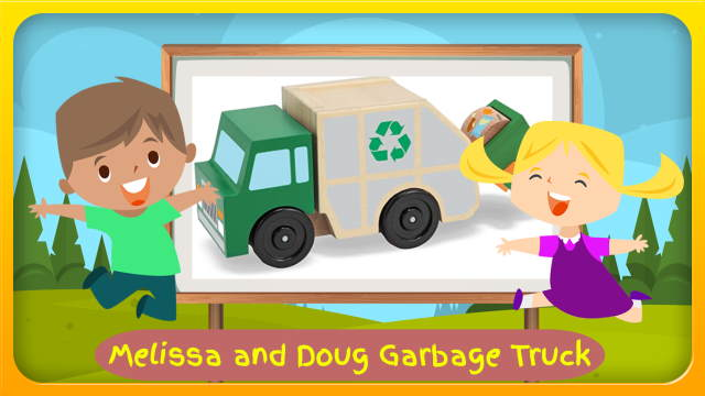 "Image bears the text: ""Melissa and Doug Garbage Truck""."