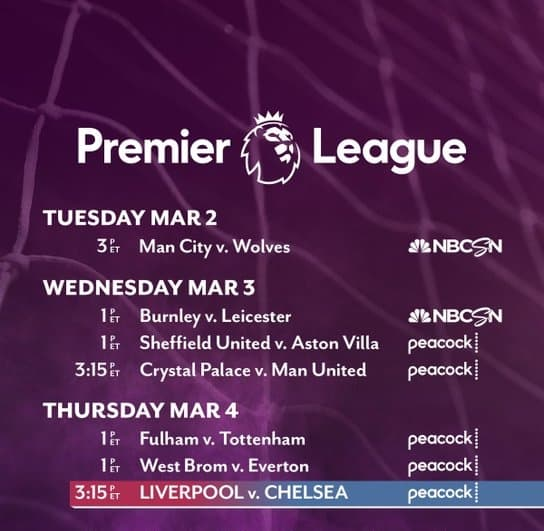 EPL commentator assignments on NBC Sports, gameweek 26 midweek special